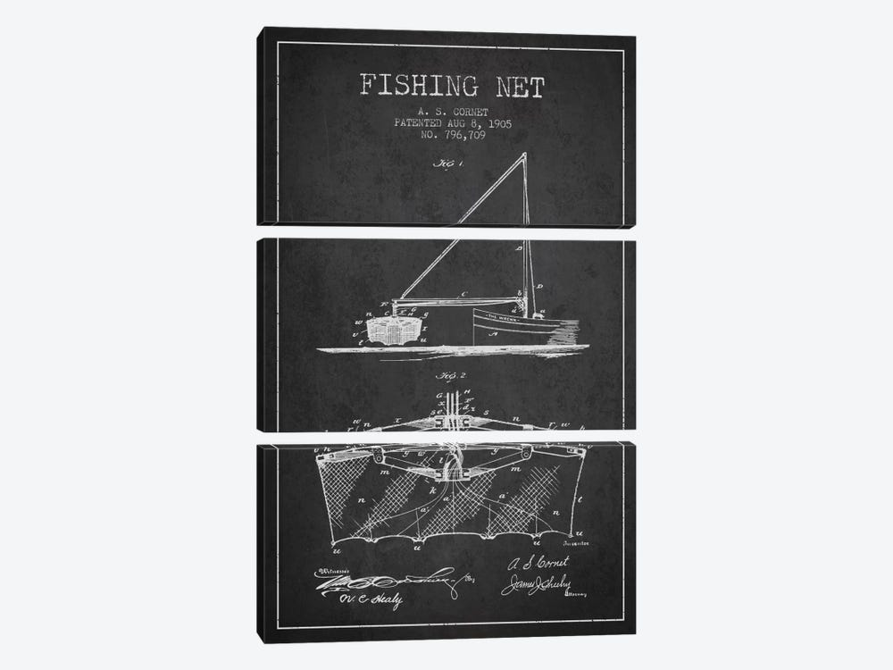 Fishing Net Charcoal Patent Blueprint by Aged Pixel 3-piece Canvas Wall Art
