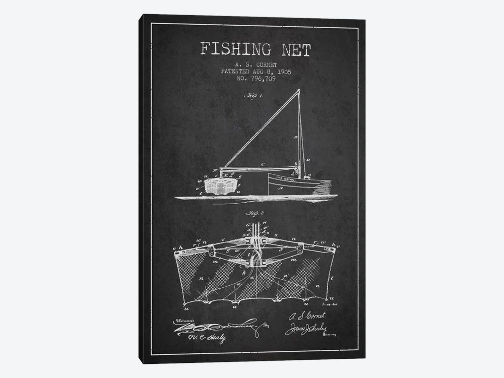 Fishing Net Charcoal Patent Blueprint by Aged Pixel 1-piece Canvas Wall Art