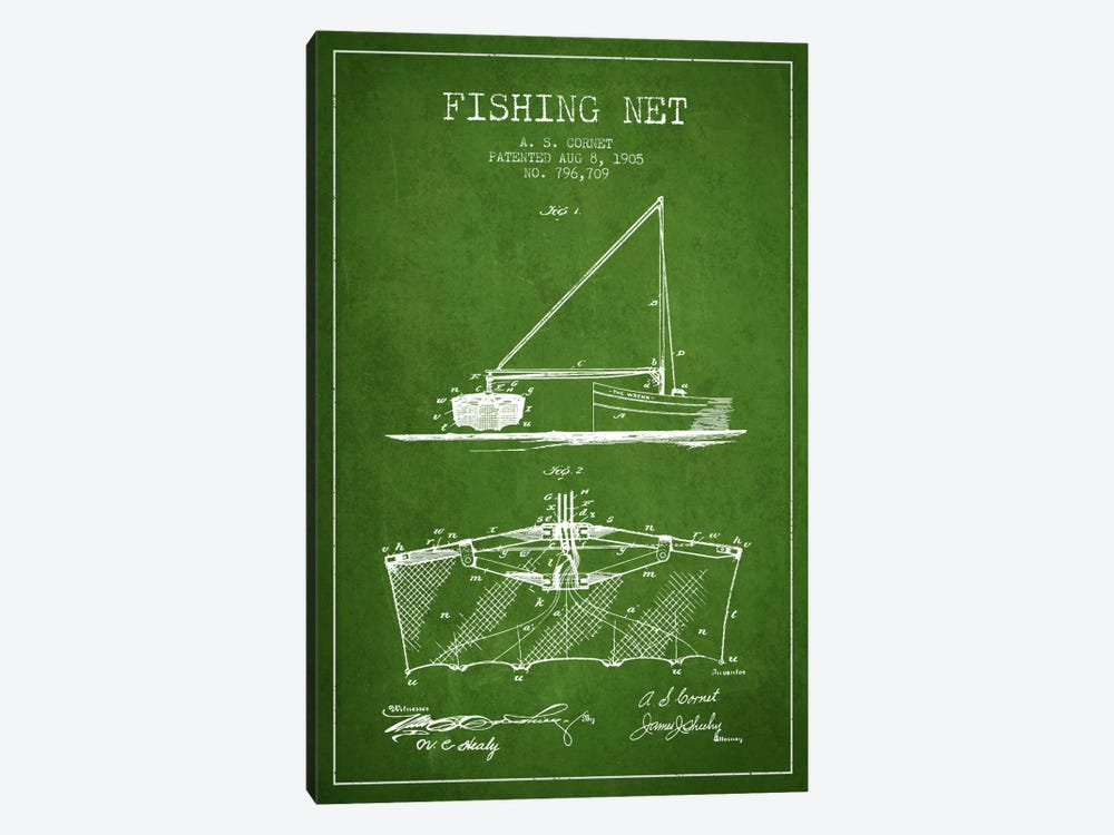 Fishing Net Green Patent Blueprint by Aged Pixel 1-piece Art Print