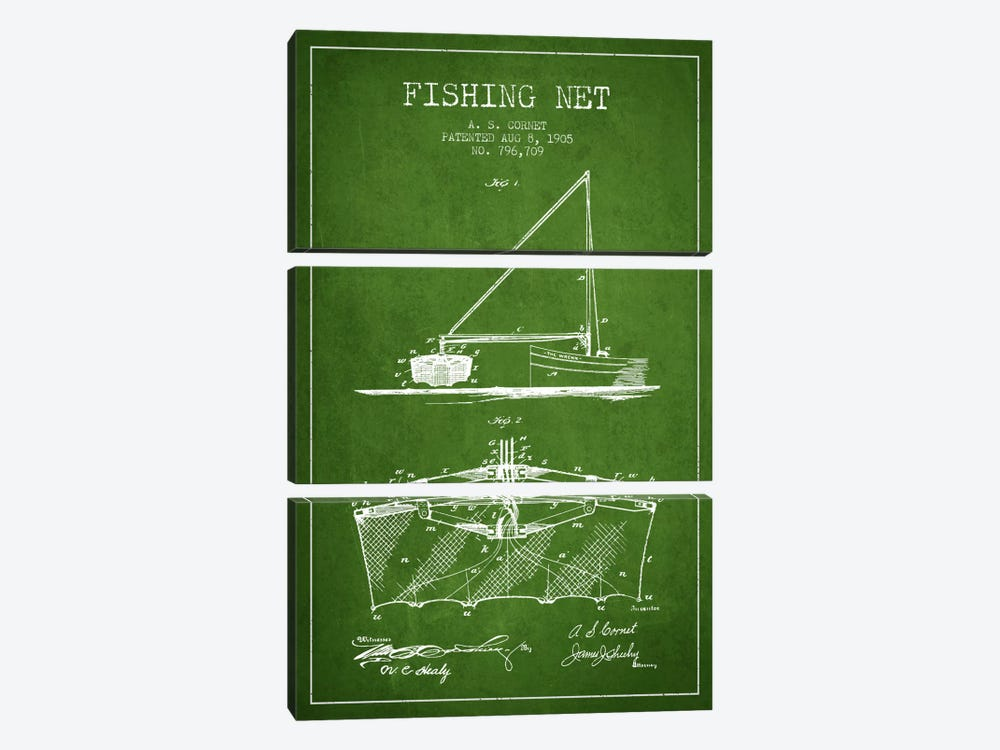 Fishing Net Green Patent Blueprint 3-piece Canvas Print