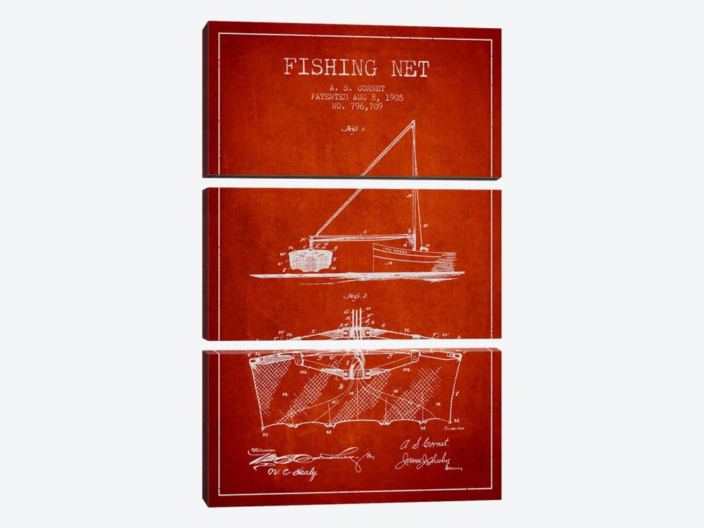 Fishing Net Red Patent Blueprint by Aged Pixel 3-piece Canvas Art Print