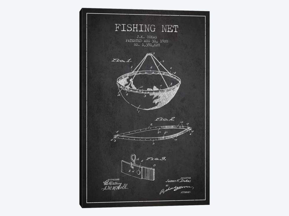 Fishing Net Charcoal Patent Blueprint by Aged Pixel 1-piece Canvas Print