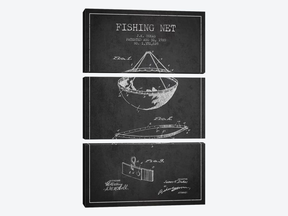Fishing Net Charcoal Patent Blueprint by Aged Pixel 3-piece Canvas Print