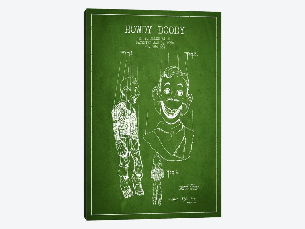 Howdy Doody Green Patent Blueprint by Aged Pixel 1-piece Canvas Art Print