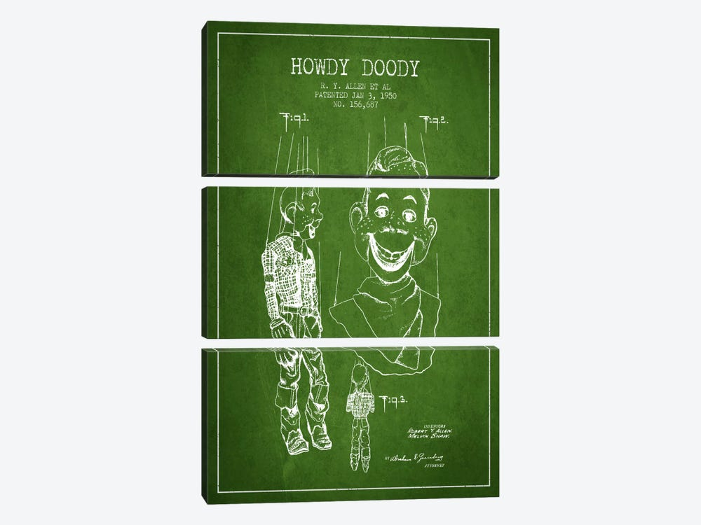 Howdy Doody Green Patent Blueprint by Aged Pixel 3-piece Canvas Art Print