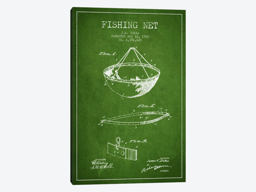Fishing Net Green Patent Blueprint by Aged Pixel 1-piece Canvas Print