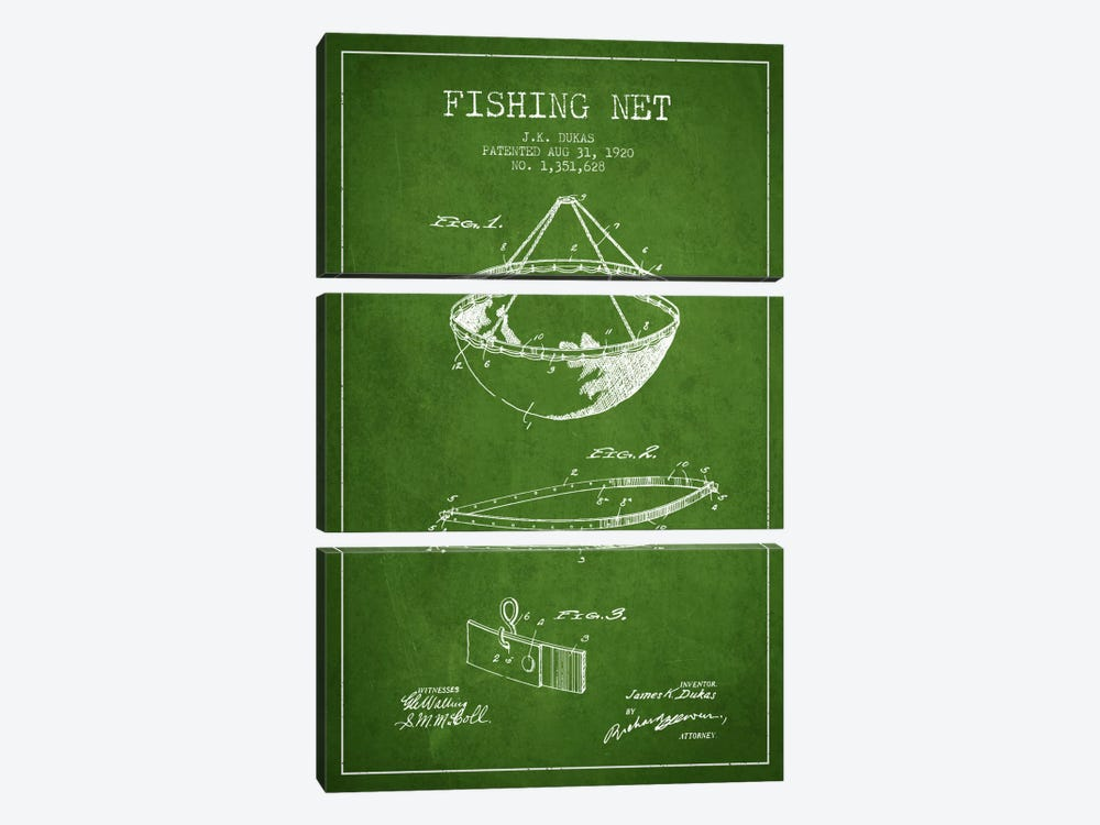 Fishing Net Green Patent Blueprint by Aged Pixel 3-piece Canvas Art Print