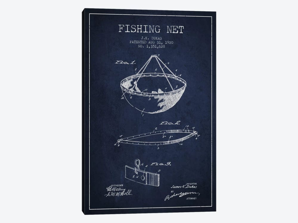 Fishing Net Navy Blue Patent Blueprint by Aged Pixel 1-piece Canvas Art