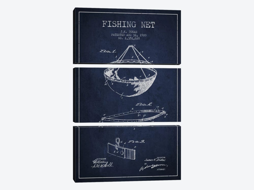 Fishing Net Navy Blue Patent Blueprint by Aged Pixel 3-piece Canvas Art