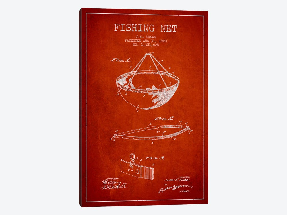 Fishing Net Red Patent Blueprint by Aged Pixel 1-piece Canvas Art Print