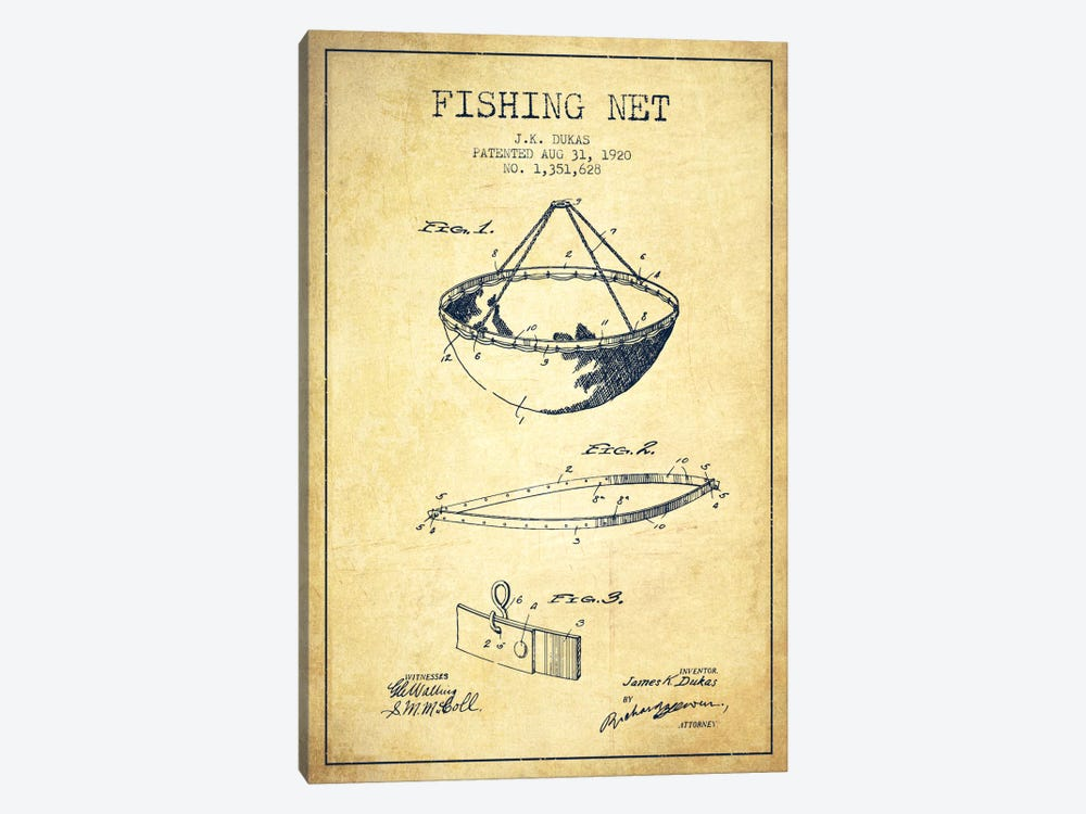 Fishing Net Vintage Patent Blueprint by Aged Pixel 1-piece Canvas Art