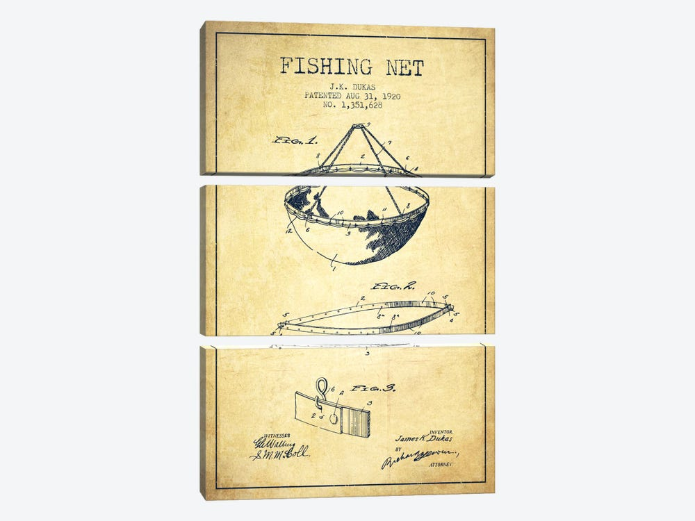 Fishing Net Vintage Patent Blueprint by Aged Pixel 3-piece Canvas Wall Art