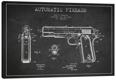 Auto Firearm Charcoal Patent Blueprint Canvas Print #ADP1284