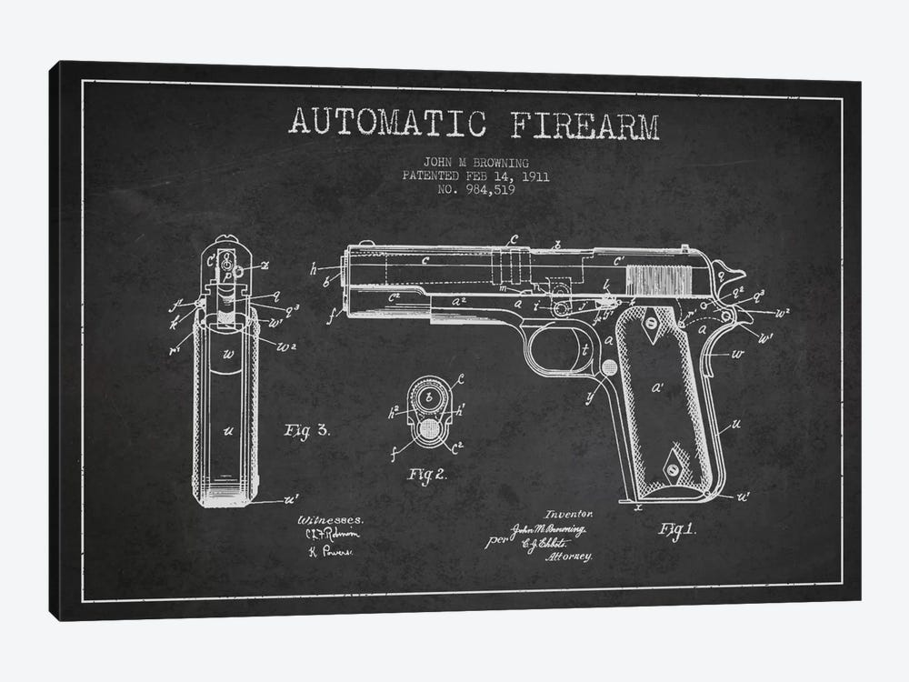 Auto Firearm Charcoal Patent Blueprint by Aged Pixel 1-piece Art Print