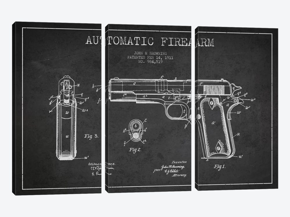 Auto Firearm Charcoal Patent Blueprint by Aged Pixel 3-piece Canvas Art Print