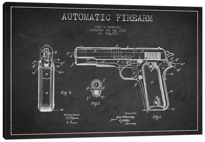 Auto Firearm Charcoal Patent Blueprint Canvas Art Print