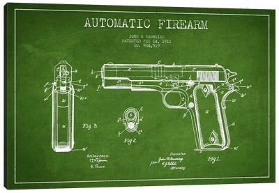 Auto Firearm Green Patent Blueprint Canvas Print #ADP1285