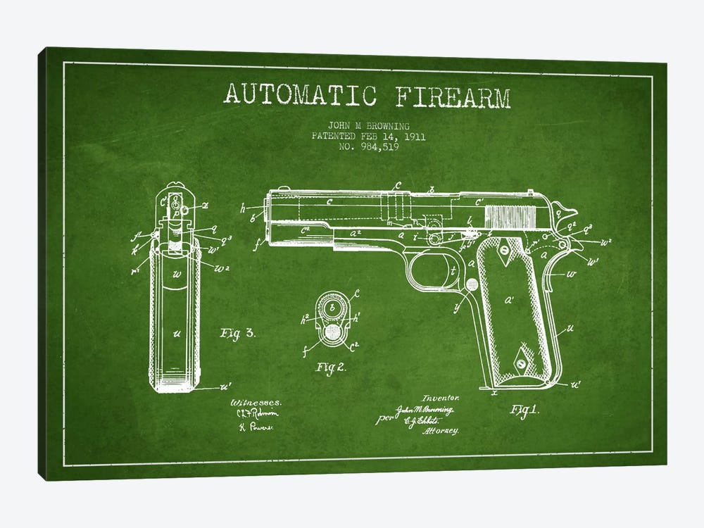 Auto Firearm Green Patent Blueprint by Aged Pixel 1-piece Canvas Wall Art