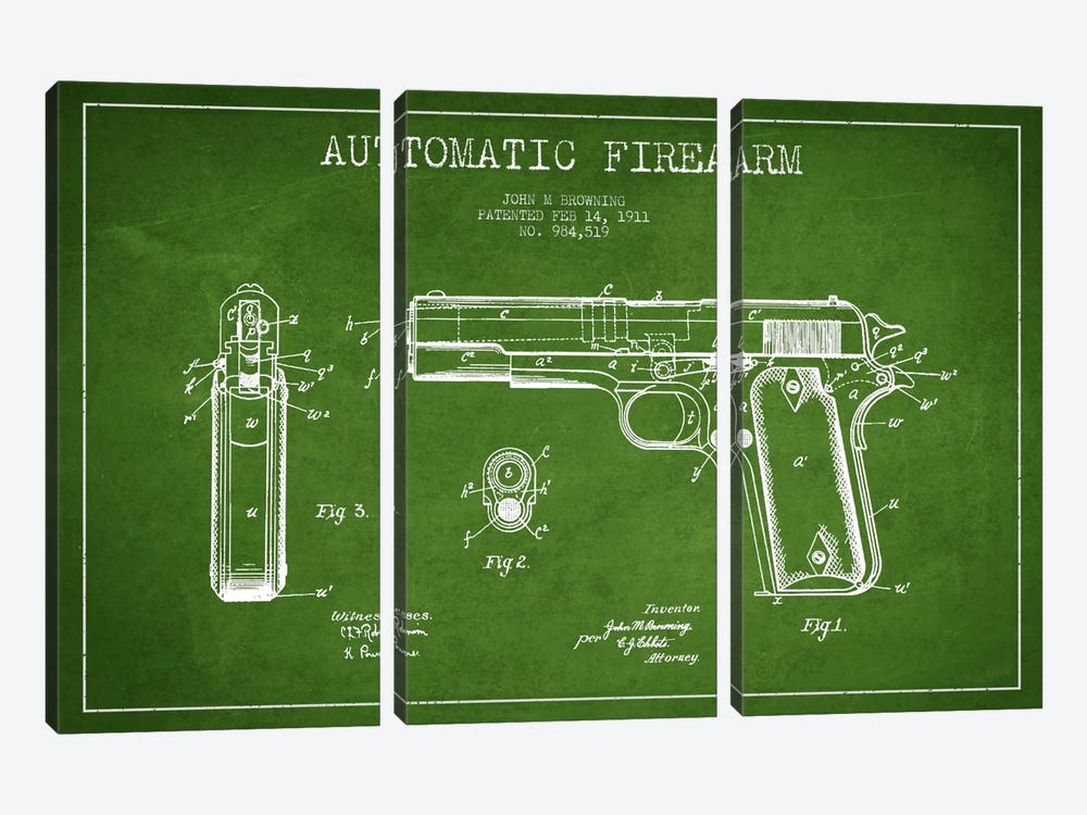 Auto Firearm Green Patent Blueprint by Aged Pixel 3-piece Canvas Art