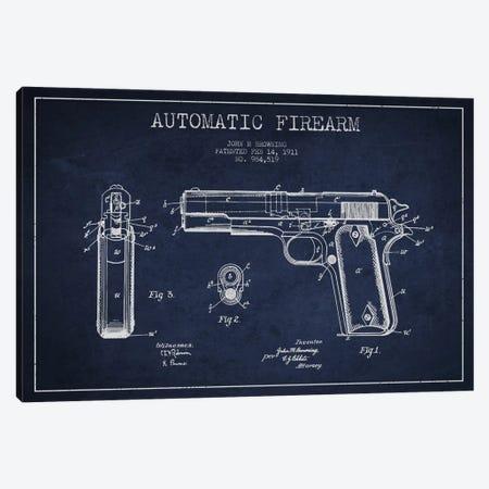Auto Firearm Navy Blue Patent Blueprint Canvas Print #ADP1286} by Aged Pixel Art Print