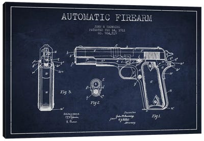 Auto Firearm Navy Blue Patent Blueprint Canvas Art Print