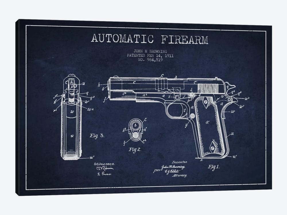 Auto Firearm Navy Blue Patent Blueprint by Aged Pixel 1-piece Canvas Art Print