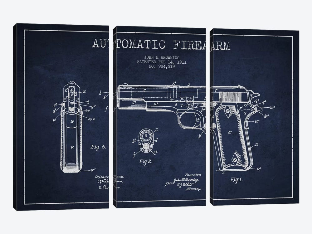 Auto Firearm Navy Blue Patent Blueprint by Aged Pixel 3-piece Art Print
