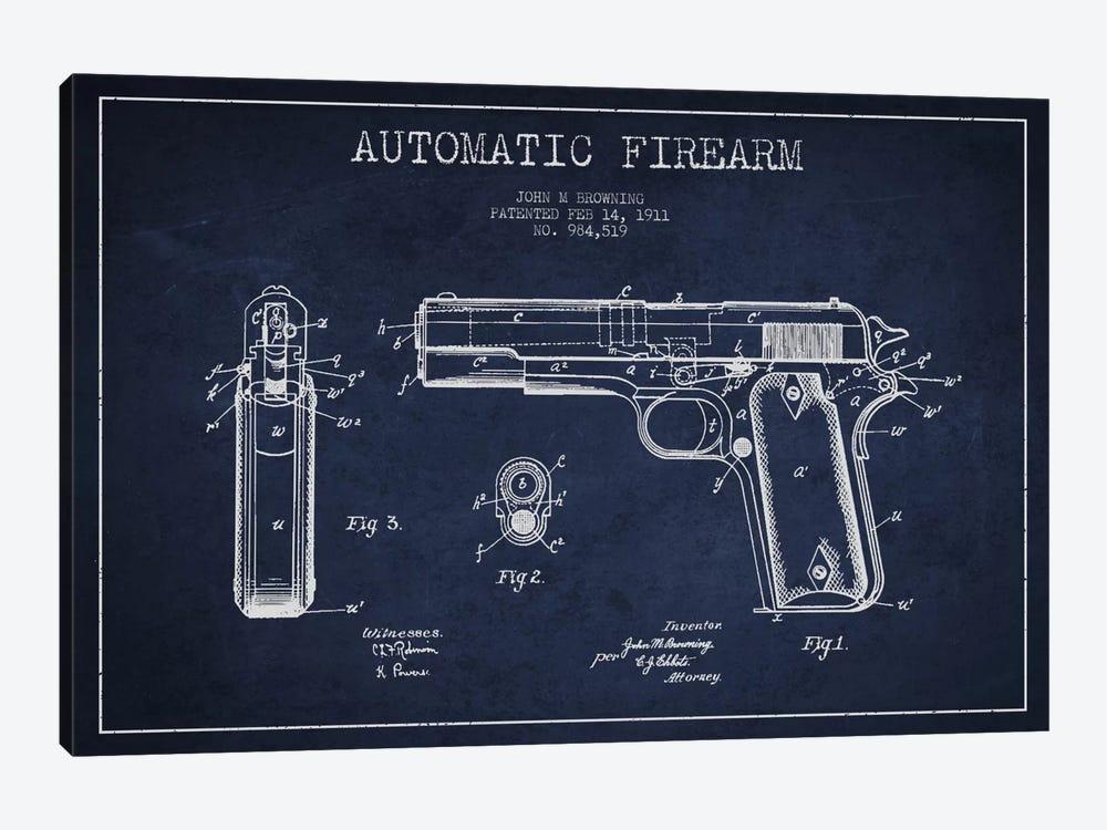 Auto Firearm Navy Blue Patent Blueprint by Aged Pixel 1-piece Canvas Art Print