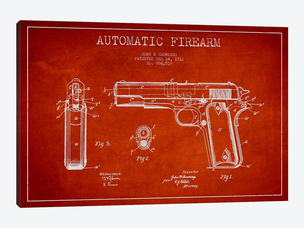 Auto Firearm Red Patent Blueprint 1-piece Canvas Art