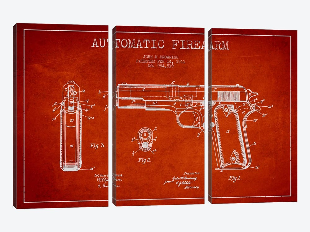 Auto Firearm Red Patent Blueprint 3-piece Canvas Art