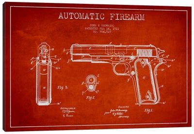 Auto Firearm Red Patent Blueprint Canvas Art Print