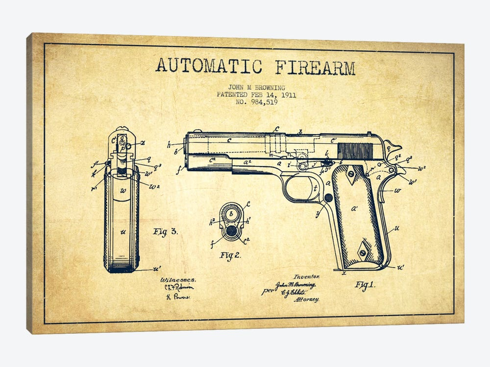 Auto Firearm Vintage Patent Blueprint by Aged Pixel 1-piece Art Print