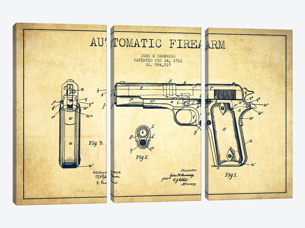 Auto Firearm Vintage Patent Blueprint by Aged Pixel 3-piece Art Print