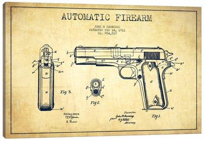 Auto Firearm Vintage Patent Blueprint Canvas Art Print