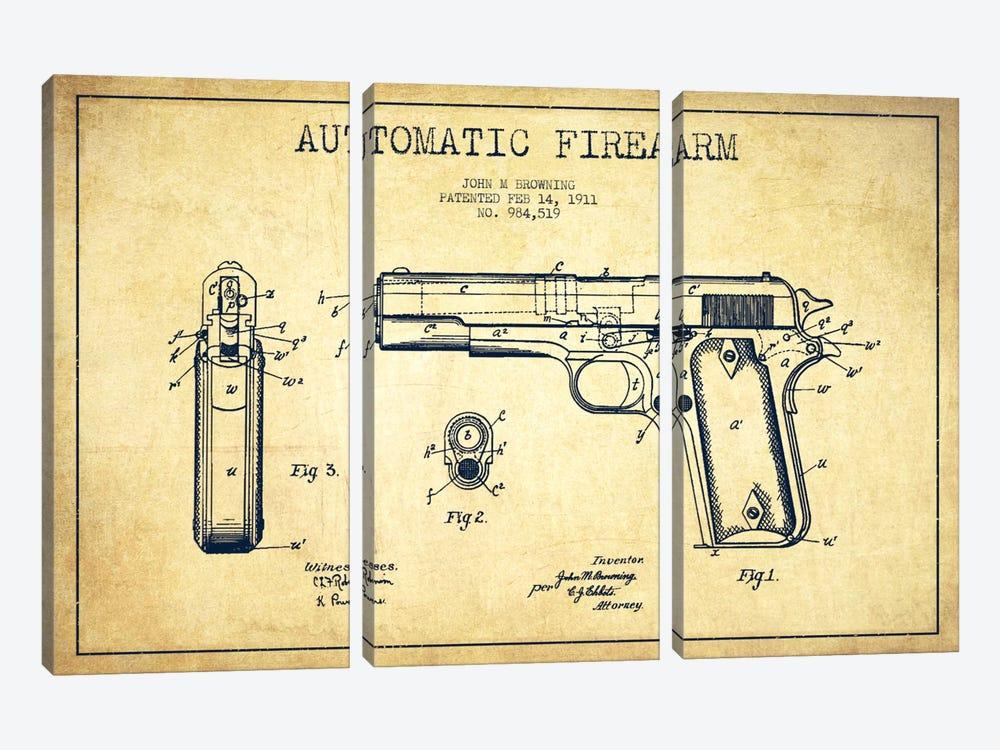 Auto Firearm Vintage Patent Blueprint by Aged Pixel 3-piece Art Print