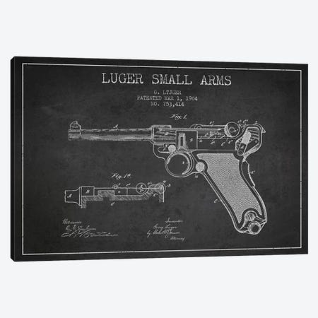 Lugar Arms Charcoal Patent Blueprint Canvas Print #ADP1289} by Aged Pixel Canvas Wall Art