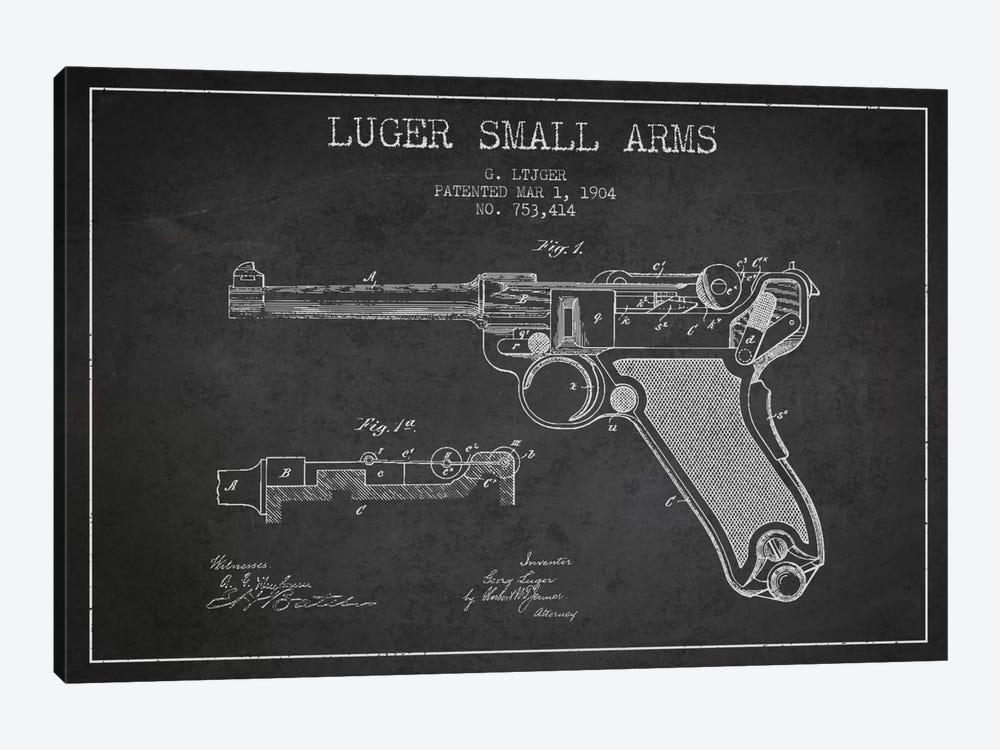 Lugar Arms Charcoal Patent Blueprint by Aged Pixel 1-piece Canvas Art