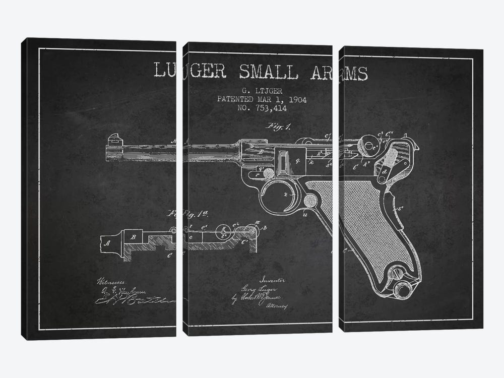 Lugar Arms Charcoal Patent Blueprint by Aged Pixel 3-piece Canvas Art