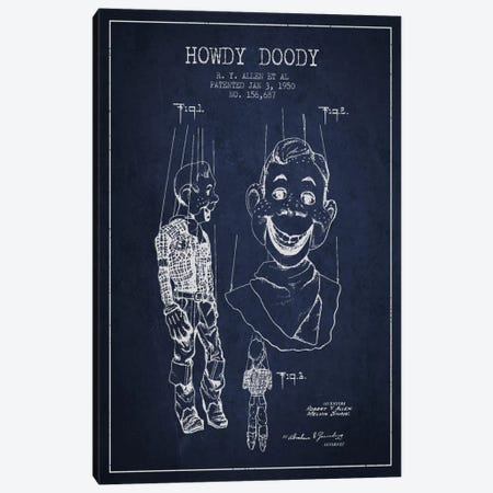 Howdy Doody Navy Blue Patent Blueprint Canvas Print #ADP128} by Aged Pixel Canvas Wall Art