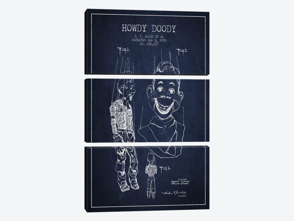 Howdy Doody Navy Blue Patent Blueprint by Aged Pixel 3-piece Canvas Artwork