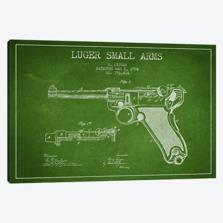 Lugar Arms Green Patent Blueprint Canvas Print #ADP1290} by Aged Pixel Canvas Print