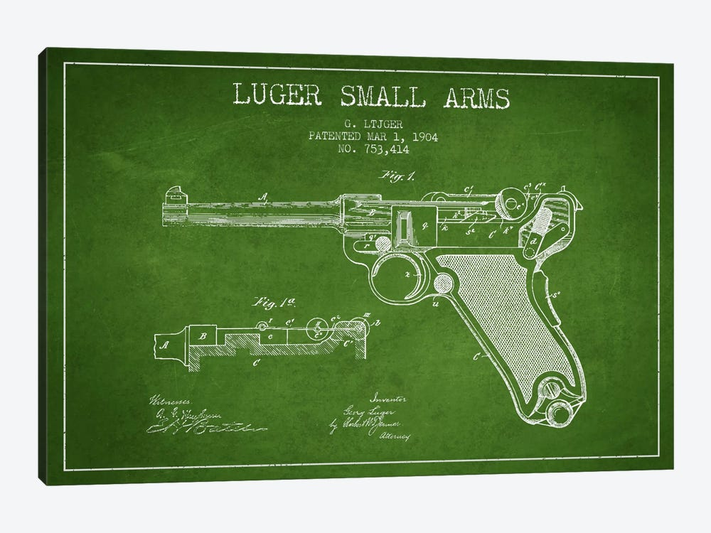 Lugar Arms Green Patent Blueprint by Aged Pixel 1-piece Canvas Artwork