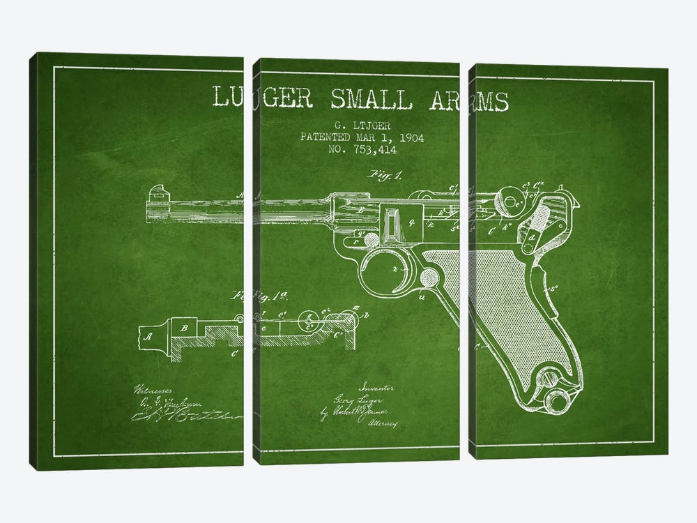 Lugar Arms Green Patent Blueprint by Aged Pixel 3-piece Canvas Artwork