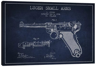 Lugar Arms Navy Blue Patent Blueprint Canvas Art Print