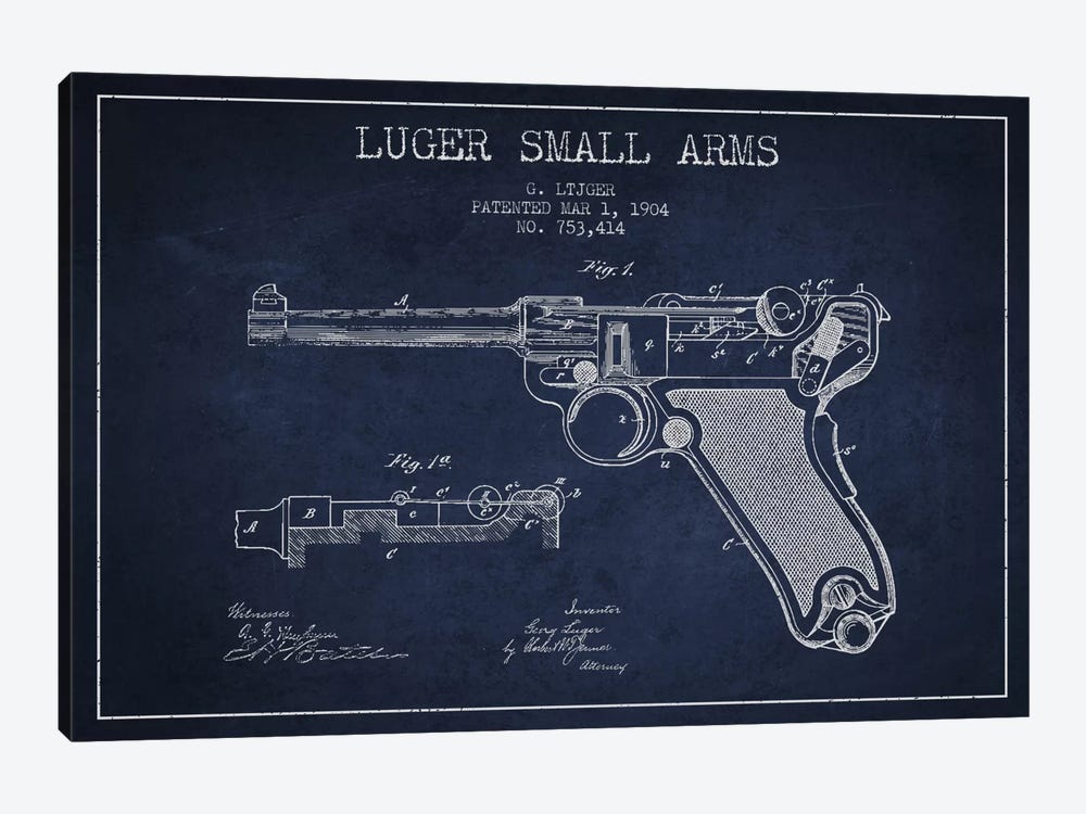 Lugar Arms Navy Blue Patent Blueprint by Aged Pixel 1-piece Canvas Art Print