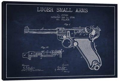 Lugar Arms Navy Blue Patent Blueprint Canvas Art Print