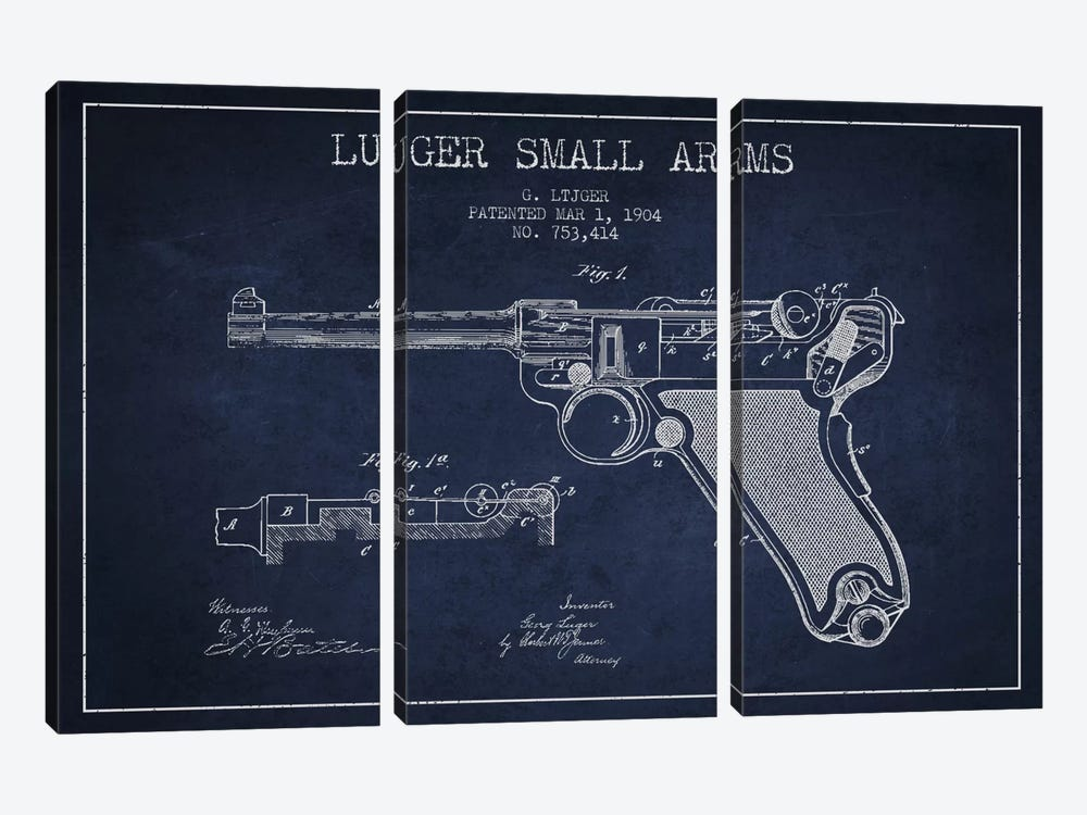 Lugar Arms Navy Blue Patent Blueprint by Aged Pixel 3-piece Canvas Print