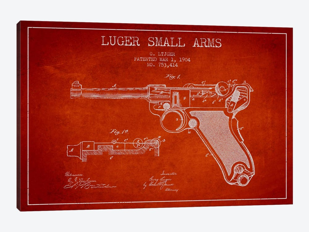 Lugar Arms Red Patent Blueprint by Aged Pixel 1-piece Canvas Artwork