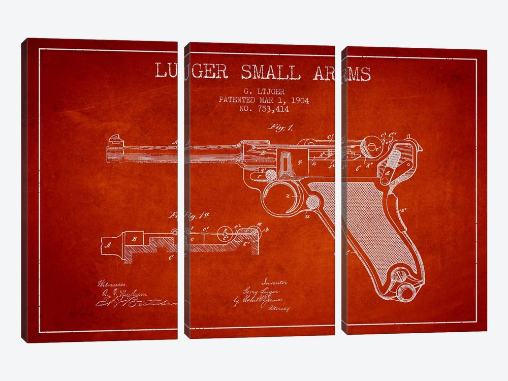 Lugar Arms Red Patent Blueprint by Aged Pixel 3-piece Canvas Artwork