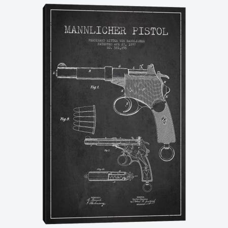 Mannlicher Pistol Charcoal Patent Blueprint Canvas Print #ADP1294} by Aged Pixel Canvas Wall Art